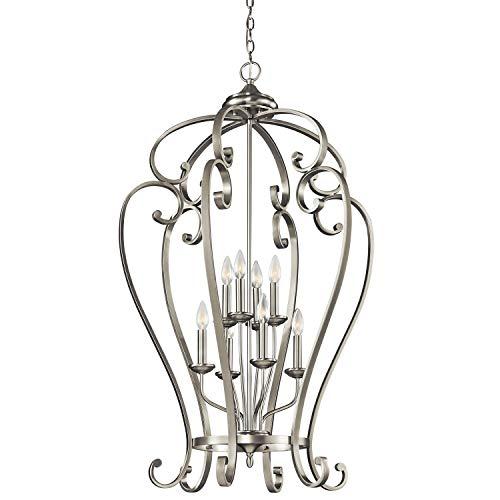 Kichler 43167NI Monroe Foyer Chandelier 8-Light, Brushed Nickel