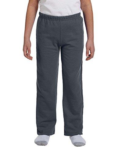 Gildan G184B Heavy BlendTM Youth 8 oz., 50/50 Open-Bottom Sweatpants - CHARCOAL - S