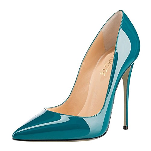 MERUMOTE Women's Pointed toe High Heels Stilettos Pumps Patent Dress Party Shoes Teal 9.5 US
