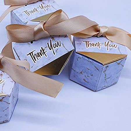 westtreg Marbling Candy Boxes con favores de la Boda con Cinta Dorada y Gracias Caja de Regalo Baby Shower Papel Bolsa de Regalos para la decoración de Bodas, 20 PCS: Amazon.es: Hogar