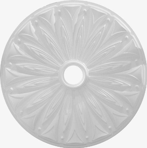 """Leaves 5 Light Chandelier - Henta Rosetta Ceiling Medallion Paintable ABS Plastic (White, 36"""" diameter)"""