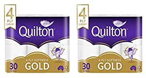 Quilton 4 Ply Toilet Tissue (140 Sheets per Roll, 11cm x 10cm), 30 count, Pack of 30 (2 Pack)