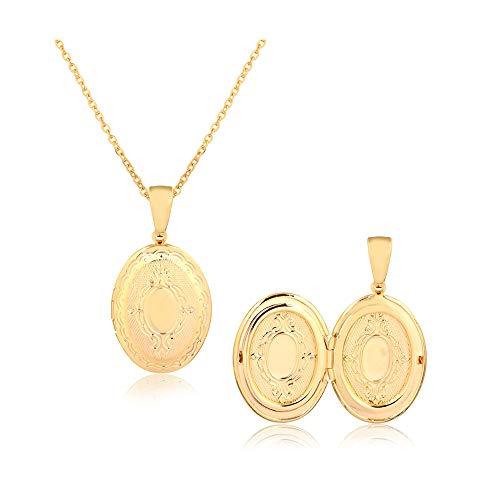 Barzel 18K Gold Plated Engraved Book Photo Locket Pendant Necklace (Style - Claddagh Gold Locket