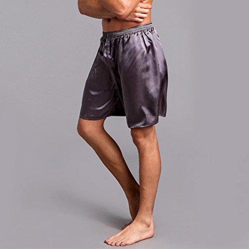 Pervobs Men Shorts Men's Shorts Silk Satin Pajama Sleepwear Homewear Robes Shorts Loungewear Underwear (2XL, Gray) by Pervobs Men Shorts (Image #1)