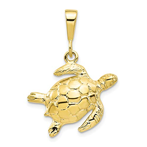 10K Yellow Gold Solid Turtle Pendant 30x22mm