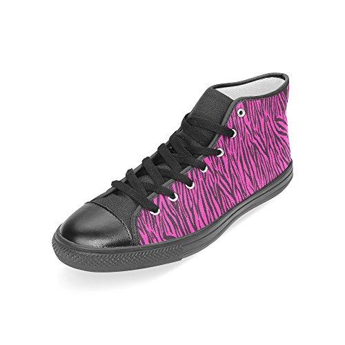D-story Custom Zebra Rosa Strisce Womens Classiche Scarpe Alte In Tela (modello 017)