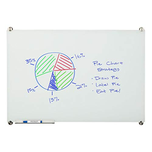 Non Magnetic Aluminum Markerboard - Learniture 4'x8' Glass Dry Erase Board w/ Marker Tray, Magnetic White  LNT-MGB-4896-WH-SO