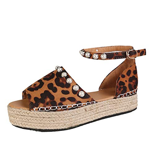 - Tantisy ♣↭♣ Women's Pearl Suede Wedges Shoes/Straw Platform Shoes/Buckle Strap/Casual Sandals/Heel High:5cm/2