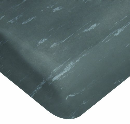 Wearwell PVC 496 Smart Tile-Top Medium Duty Anti-Fatigue Mat, Tapered Edges, for Dry Areas, 2' Width x 3' Length x 1/2'' Thickness, Charcoal by Wearwell