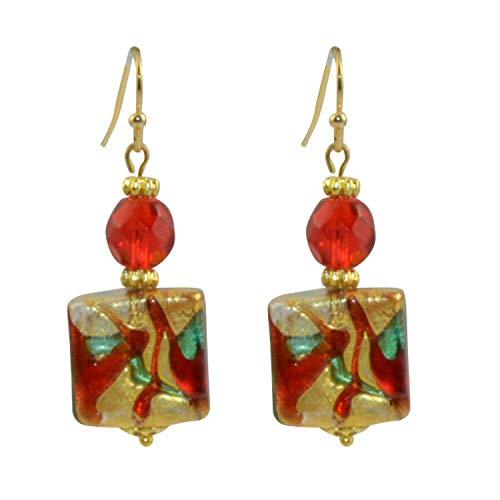 Just Give Me Jewels 24k Square Tri-Color Swirl Genuine Venice Murano Glass Dangle Earrings