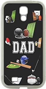 Rikki KnightTM Dad Sports on Black - All Sports - Father's Day Gift - Football - Baseball - bowling - Ice Hockey Design Samsung? Galaxy S4 Case Cover (White Hard Rubber TPU with Bumper Protection) for Samsung Galaxy S4 i9500