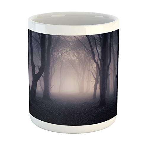 Ambesonne Forest Mug, Path in Dark Deep in Forest with Fog Halloween Creepy Twisted Branches Picture, Printed Ceramic Coffee Mug Water Tea Drinks Cup, Dark Grey Purple -