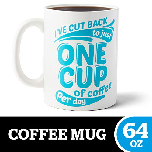 BigMouth Inc. One Cup of Coffee Gigantic Mug - Hilariously Huge 64 oz Ceramic Coffee Cup - Perfect for Gag Gift for Coffee Lovers
