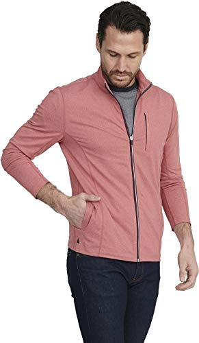 UNTUCKit Tai Rosso - Men's Workout Sweatshirt Gym Sports Full Zip Jacket Mars Red Large-Regular Fit