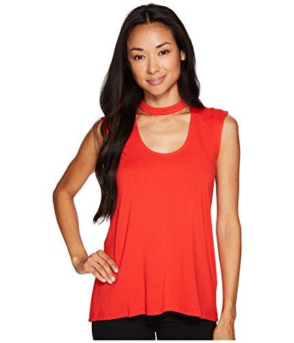 (Vince Camuto Specialty Size Womens Petite Sleeveless Mock Choker Neck High-Low Hem Top Bright Crimson PS One Size)