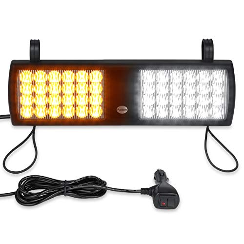 12V Amber White Eergency Visor Strobe Light, WOWTOU Windshield Warning 24W LED for Truck Construction Undercover Unmarked Vehicles