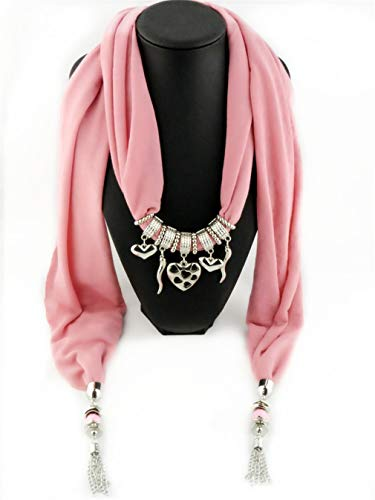 Chic-Dona Fashion Women/Lady's Jewelry Necklace Scarf Cotton Scarves Heart Pendant Scarves 3 One Size by Chic-Dona