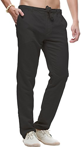 Flat Front Linen Trousers - 8