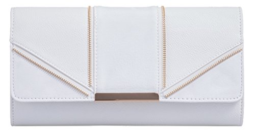 Suede HandBags Evening Leather White Gorgeous Design Bag Zipped Insertion Girly Clutch Faux Bag 8qSxWST4