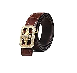 Men's Leather Belt with Stainless Steel Buckle and Diamonds