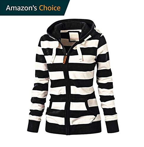 (URIBAKE ❤ Women's Hooded Coat Autumn Winter Striped Zipper Tops Pockets Hoodie Sweatshirt Coat Jacket Casual Slim Jumper Black)