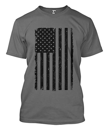 (Distressed Black USA Flag - United States Men's T-Shirt (Charcoal, X-Large))