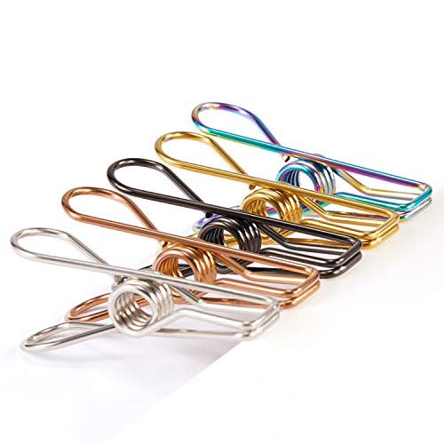 Chip Clips Bag Clips Food Clips - 28 Pack Assorted Colors Utility Clips Heavy Duty Stainless Steel Wire Chip Bag Clips for Kitchen Bread Open Bags Snack Bags Food Storage Bags