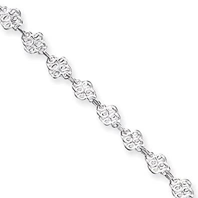 Sterling Silver Filigree Swirl Link Anklet