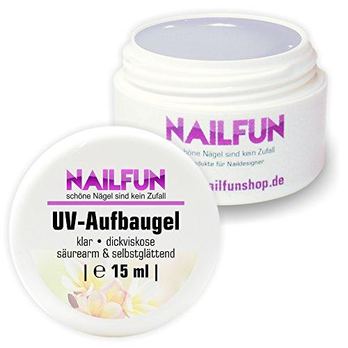 Nailfun UV-Aufbaugel 15 ml klar dickviskose säurearm selbstglättend, 1er Pack (1 x 15 ml)