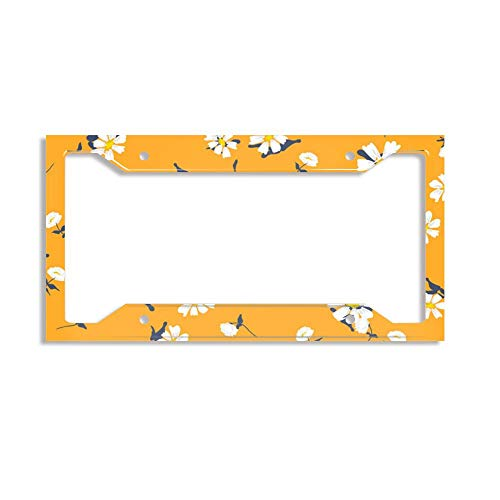 - License Plate Frames Alumina Car Licence Plate Covers Slim Design for US Standard - Retro Daisy Simple Yellow Florals Seamless
