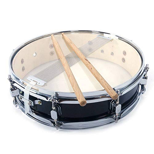- Binlin 13x3.5 inch Black Snare Drum Student Beginner Steel Piccolo Snare Drum Set w/Drum Key Drumsticks and Strap