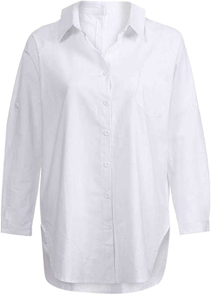 PAOLIAN Blusa de Mujer Manga Largas Otoño 2018 Moda Camisetas Lino Basicas Ancho Ropa para Mujer Casual Camisas Cuello Redondo Señora Fiesta Blusa de Vestidos Mini Sólido: Amazon.es: Ropa y accesorios
