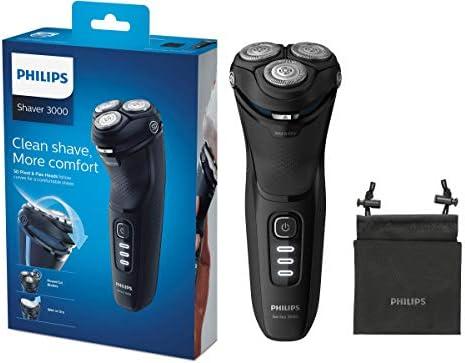 Philips Serie 3000 S3233/52 - Afeitadora eléctrica, cabezales pivotantes y flexibles 5D, cortapatillas desplegable para bigote y patillas, seco o húmedo, 60 min de ...