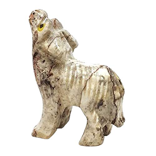 (Nelson Creations, LLC Wolf Natural Soapstone Hand-Carved Animal Charm Totem Stone Carving Figurine, 1.5 Inch)