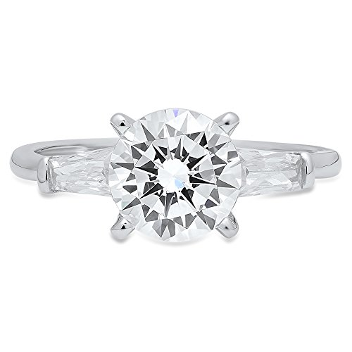 2.20 CT Round & Baguette Cut Solitaire 3-Stone Engagement Wedding Anniversary Promise Ring 14K White Gold, Size 7 Clara Pucci