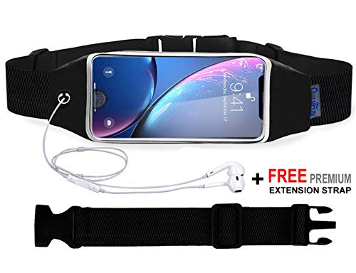 QUANFUN Compatible iPhone X / 8 Plus / 8/6/6s 7 Plus Running Belt Waist Bag, Fanny Pack Running Wristbands Sports Workout Fitness Holder Pouch Compatible Galaxy s8 s7 Plus and All Cell Phones ()