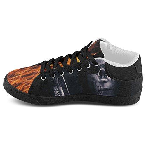 Artsadd Skull In Flames Chukka Canvas Shoes For Men (model003)