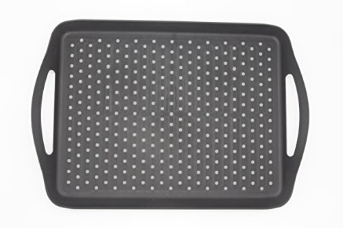 ChopMaster Rectangular Anti Slip Serving Tray with Handle (large, Black) by ChopMaster