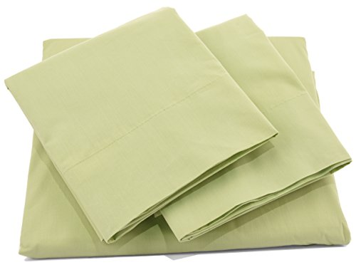 Pacific Linens Bed Sheet Set Deep Pocket Comfort | Poly Cotton Blend | Hypoallergenic, Wrinkle, Fade & Stain Resistant | 300 Thread Count | 4 Piece | Queen Size | Sage Green