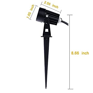 Annstory 6W Oudoor Flood Light by, Bright LED Black Landscape Stake Light with Cord Set, Landscape Spotlight for Garden Yard Patio Path lawn,Waterproof,Warm White(6 Pack)