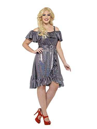 Smiffys Women's 1970's Disco Diva Costume, Dress and Belt, 70 Disco, Serious Fun, Plus Size 22-24, -