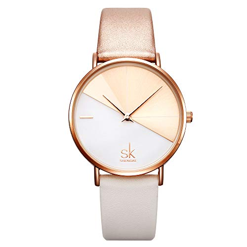 SK Fashion Women Watches Leather Band Simple Decent Casual Waterproof Lady Watch,reloj de - Womens Leather Watch Fashion