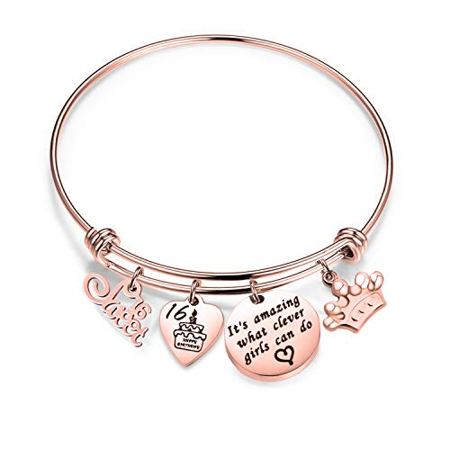 bobauna Birthday Gift for Sweet 16 Rose Gold Stainless Steel Expandable Wire Bangle Bracelet (16th Bracelet RG)