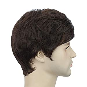 Akashkrishna™ Short Brown Synthetic Hair Wigs for Men Subtle Wavy Side Parting Natural Looking Men's Wig (#4)