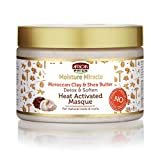 African Pride Moisture Miracle Moroccan Clay & Shea Butter Heat Activated Masque - For Natural Coils & Curls, Detoxes & Softens, Removes Impurities & Product Build-Up from Hair 12 oz