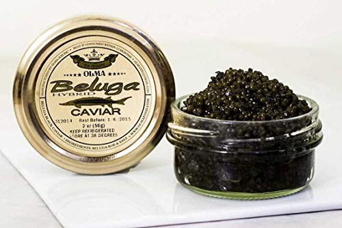 Beluga Sturgeon Hybrid Caviar, Rated Top Black Caviar in the World, Exclusively from OLMA - 2 Ounce - Overnight Delivery (Russian Caviar)
