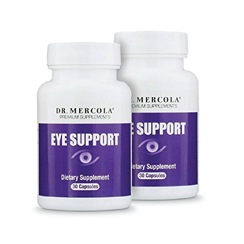 Dr. Mercola Eye Support - 30 Capsules - 2 Bottles - Lutein, Astaxanthin, Black Currant, Zeaxanthin - Top Antioxidant Support for Eyesight + Eye Health - Natural Source of Carotenoids