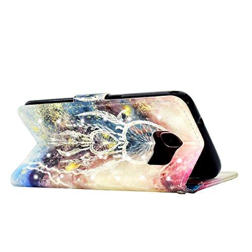 Funda Galaxy S7 edge,SainCat Funda de cuero sintético tipo billetera con correa de cordón de Suave PU Carcasa Con Tapa y Cartera,Soporte Plegable,Ranuras para Tarjetas y Billetera Funda de Flip Ranura Campanula