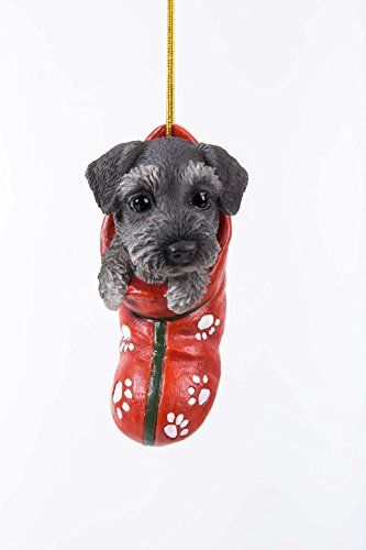 (Pacific Giftware Mini Schnauzer Puppy Decorative Holiday Festive Christmas Hanging Ornament)