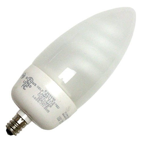 TCP 60 Watt Equivalent Single-Pack, CFL Decorative Torpedo Chandelier Light Bulb, Candelabra Base, Non-Dimmable, Bright White 10714C41K - 14w Torpedo Lamp